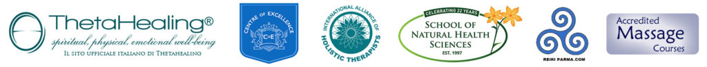 accreditato da: International Alliance of Holistic Therapists, Accredited Massage Courses, Reiki Parma, Centro di Eccellenza, Theta Healing Italia e School of Natural Health Sciences